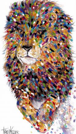 Jumping Lion Textured Print