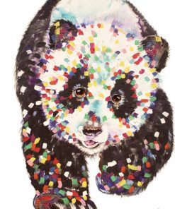 panda walk textured print