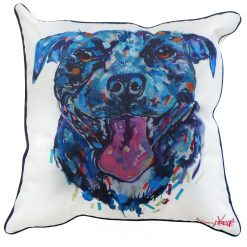 Staffy Blue Cushion Cover Dog Puppy Tracey Keller